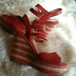 Guess burnt orange wedge sandals